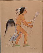 view Indian Wearing Horsetail and Holding Two Sticks n.d. Painting digital asset number 1