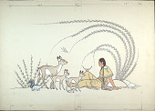 view Unfinished: Indian Woman Sitting Near Rocks with Animals (Deer, Skunk, Birds) Approaching Her n.d. Painting digital asset number 1