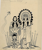 view Indian Man, Woman, and Child n.d. Drawing digital asset number 1