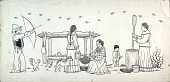 view Man, Women, and Child in Indian Camp Scene n.d. Drawing digital asset number 1