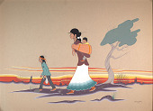 view Indian Woman Carrying Child, and Indian Boy Nearby 1960 Painting digital asset number 1