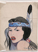 view Face of Indian Woman; Signed Eah Ha Wa 1942 Painting digital asset number 1