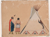 view Indian Couple Near Painted Tipi n.d. Painting digital asset number 1