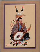 view Seated Indian with Feathered Shield n.d. Painting digital asset number 1
