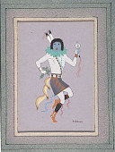 view MS 1974-40 Harrison Begay and Louis Naranjo paintings digital asset: Masked Dancer Painting