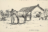 view Uruguayans Saddling Horses 1945 Photomechanical digital asset number 1