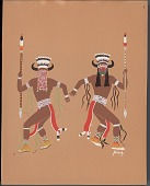view MS 7536 Pochoir prints of ledger drawings by the Kiowa Five digital asset: Pochoir print of Jack Hokeah drawing of buffalo dance
