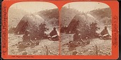 "view ""Digger"" camp scene with two Indians sitting outside a grass wigwam digital asset number 1"