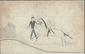 view Anonymous drawing, probably Lakota or Cheyenne, of Indian fighting Army soldier outside a building digital asset: Anonymous drawing, probably Lakota or Cheyenne, of Indian fighting Army soldier outside a building
