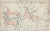 view Anonymous drawing, probably Lakota or Cheyenne, of horse raiding scene with tracks shown on facing page and warrior identified by name glyph digital asset: Anonymous drawing, probably Lakota or Cheyenne, of horse raiding scene with tracks shown on facing page and warrior identified by name glyph
