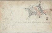 view Anonymous drawing, probably Lakota or Cheyenne, of warfare, with warrior with lance and shield, near tipi camp digital asset: Anonymous drawing, probably Lakota or Cheyenne, of warfare, with warrior with lance and shield, near tipi camp