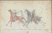 view Anonymous drawing, probably Lakota or Cheyenne, of warfare against Army soldier, with riderless horse on facing page connected to scene by line of hoof prints digital asset: Anonymous drawing, probably Lakota or Cheyenne, of warfare against Army soldier, with riderless horse on facing page connected to scene by line of hoof prints