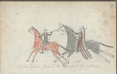 view Anonymous drawing, probably Lakota or Cheyenne, of warfare against Army soldier digital asset: Anonymous drawing, probably Lakota or Cheyenne, of warfare against Army soldier