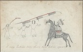 view Anonymous drawing, probably Lakota or Cheyenne, of warfare against three women, with warrior holding banner, lance, and shield digital asset: Anonymous drawing, probably Lakota or Cheyenne, of warfare against three women, with warrior holding banner, lance, and shield