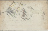 view Anonymous drawing, probably Lakota or Cheyenne, of warfare against Army soldiers, with warrior in medicine regalia counting coup with bow lance digital asset: Anonymous drawing, probably Lakota or Cheyenne, of warfare against Army soldiers, with warrior in medicine regalia counting coup with bow lance