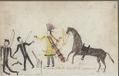 view Anonymous drawing, probably Lakota or Cheyenne, of warfare scene, with warrior in society regalia counting coup on two White men, their wagon shown on facing page digital asset: Anonymous drawing, probably Lakota or Cheyenne, of warfare scene, with warrior in society regalia counting coup on two White men, their wagon shown on facing page