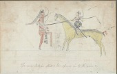 view Anonymous drawing, probably Lakota or Cheyenne, of warfare, with warrior with lance and shield digital asset: Anonymous drawing, probably Lakota or Cheyenne, of warfare, with warrior with lance and shield