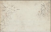 view Anonymous drawing, probably Lakota or Cheyenne, of warfare scene, with warrior striking White enemies, having escaped under heavy fire from a tipi camp shown on facing page digital asset: Anonymous drawing, probably Lakota or Cheyenne, of warfare scene, with warrior striking White enemies, having escaped under heavy fire from a tipi camp shown on facing page