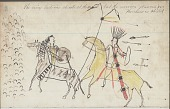 view Anonymous drawing, probably Lakota or Cheyenne, of warfare scene, with warrior in society regalia counting coup on tribal enemy digital asset: Anonymous drawing, probably Lakota or Cheyenne, of warfare scene, with warrior in society regalia counting coup on tribal enemy