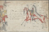 view Anonymous drawing, probably Lakota or Cheyenne, of warfare scene, with two warriors, one with hair-fringed shirt, the other with shield and society lance, facing rows of well armed enemies digital asset: Anonymous drawing, probably Lakota or Cheyenne, of warfare scene, with two warriors, one with hair-fringed shirt, the other with shield and society lance, facing rows of well armed enemies