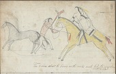 view Anonymous drawing, probably Lakota or Cheyenne, of warfare scene, with warrior identified by name glyph wearing hair-fringed shirt striking a White man digital asset: Anonymous drawing, probably Lakota or Cheyenne, of warfare scene, with warrior identified by name glyph wearing hair-fringed shirt striking a White man