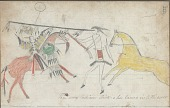 view Anonymous drawing, probably Lakota or Cheyenne, of warfare scene, with warrior identified by name glyph with hair-fringed shirt, shield, and society lance striking an enemy digital asset: Anonymous drawing, probably Lakota or Cheyenne, of warfare scene, with warrior identified by name glyph with hair-fringed shirt, shield, and society lance striking an enemy