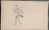 view Anonymous Arikara drawing of hunter carrying rifle and game digital asset: Anonymous Arikara drawing of hunter carrying rifle and game