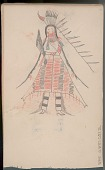 view Anonymous Arikara drawing of man with face paint, fan, and quilled buffalo robe, identified by name glyph digital asset: Anonymous Arikara drawing of man with face paint, fan, and quilled buffalo robe, identified by name glyph