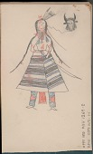 view Anonymous Arikara drawing of man with face paint and bow, identified by name glyph digital asset: Anonymous Arikara drawing of man with face paint and bow, identified by name glyph