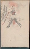 view Anonymous Arikara drawing of man with face paint approaching stand of trees digital asset: Anonymous Arikara drawing of man with face paint approaching stand of trees