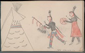 view Anonymous Arikara drawing of ceremony, with two men outside a painted tipi digital asset: Anonymous Arikara drawing of ceremony, with two men outside a painted tipi