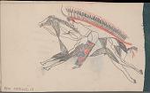 view Anonymous Arikara drawing of man on horseback with feathered headdress digital asset: Anonymous Arikara drawing of man on horseback with feathered headdress