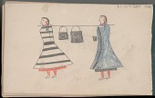 view Anonymous Arikara drawing of two women carrying a pole supporting two kettles, probably containing food digital asset: Anonymous Arikara drawing of two women carrying a pole supporting two kettles, probably containing food