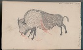 view Anonymous Arikara drawing of wounded buffalo bull digital asset: Anonymous Arikara drawing of wounded buffalo bull