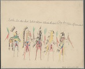 view Anonymous Cheyenne drawing of rear view of five men in ceremonial attire on horseback, two carrying shields digital asset: Anonymous Cheyenne drawing of rear view of five men in ceremonial attire on horseback, two carrying shields