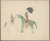 view Anonymous Cheyenne drawing of woman and man on horseback, with one carrying an umbrella digital asset: Anonymous Cheyenne drawing of woman and man on horseback, with one carrying an umbrella