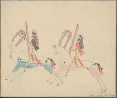 view Anonymous Cheyenne drawing of two warriors with full body paint and carrying shields and other military society regalia digital asset: Anonymous Cheyenne drawing of two warriors with full body paint and carrying shields and other military society regalia