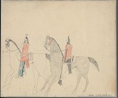 view Anonymous Cheyenne drawing of two men on horseback digital asset: Anonymous Cheyenne drawing of two men on horseback