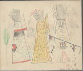 view Anonymous Cheyenne drawing of three painted tipis, feathered lance, and tree digital asset: Anonymous Cheyenne drawing of three painted tipis, feathered lance, and tree