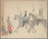 view Anonymous Cheyenne drawing of riders with shields and lances meet two men on foot digital asset: Anonymous Cheyenne drawing of riders with shields and lances meet two men on foot