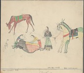 view Anonymous Cheyenne drawing of men butchering a buffalo while a woman holds horses digital asset: Anonymous Cheyenne drawing of men butchering a buffalo while a woman holds horses