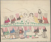 view Anonymous Cheyenne drawing of village scene with two rows of painted tipis set in landscape with hills and trees, several shields on display, and wagon in foreground digital asset: Anonymous Cheyenne drawing of village scene with two rows of painted tipis set in landscape with hills and trees, several shields on display, and wagon in foreground