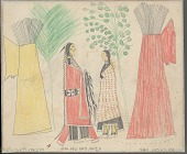 view Anonymous Cheyenne drawing of courting scene with trees and painted tipis digital asset: Anonymous Cheyenne drawing of courting scene with trees and painted tipis