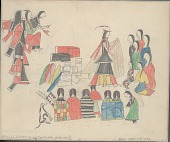 view Anonymous Cheyenne drawing of man distributing a pile of goods to people seated around him, with one woman holding cradleboard with dog nearby digital asset: Anonymous Cheyenne drawing of man distributing a pile of goods to people seated around him, with one woman holding cradleboard with dog nearby