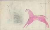 view Anonymous Cheyenne drawing of pink-colored horse digital asset: Anonymous Cheyenne drawing of pink-colored horse