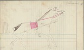 view Anonymous Cheyenne drawing of courting scene, with horse with travois shown digital asset: Anonymous Cheyenne drawing of courting scene, with horse with travois shown