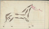view Anonymous Cheyenne drawing of courting scene, with horse waiting nearby digital asset: Anonymous Cheyenne drawing of courting scene, with horse waiting nearby