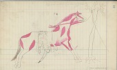 view Anonymous Cheyenne drawing of courting scene, with tipi and horse waiting nearby digital asset: Anonymous Cheyenne drawing of courting scene, with tipi and horse waiting nearby