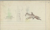 view Anonymous Cheyenne drawing of hunter chasing rabbit digital asset: Anonymous Cheyenne drawing of hunter chasing rabbit
