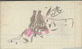 view Anonymous Cheyenne drawing of two men riding together on a pinto horse digital asset: Anonymous Cheyenne drawing of two men riding together on a pinto horse